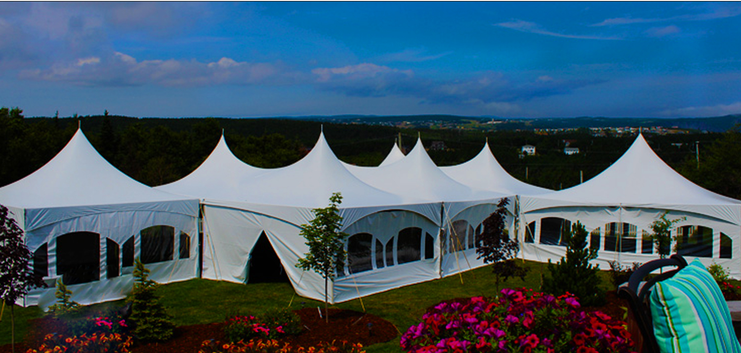 party tent against open sky