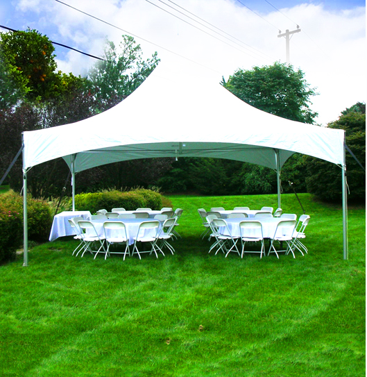 Backyard tent and chairs for party